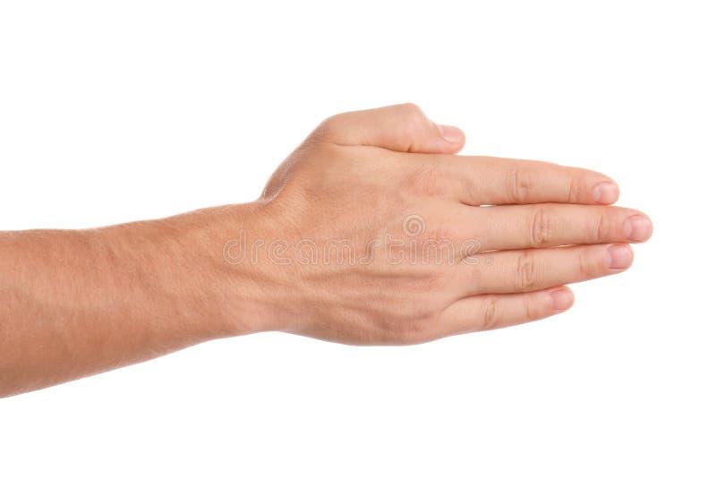 Man reaching hand for shake on white background. Closeup royalty free stock photos
