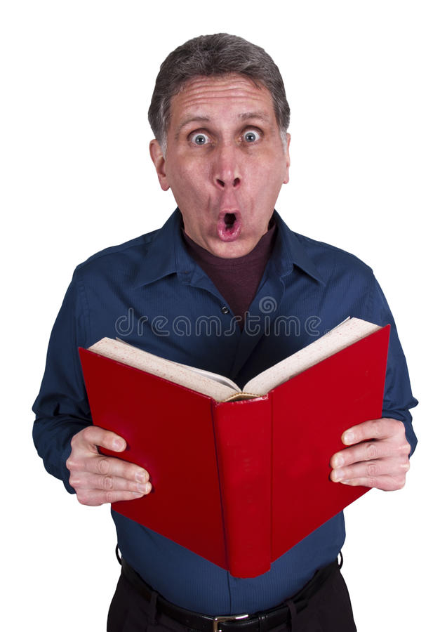 Download Man Read Book Surprise Shock Isolated On White Stock Image - Image: 17933813
