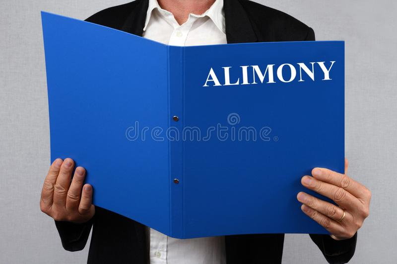 Man reading the alimony file. Divorce concept with anonymous man consulting a document vector illustration