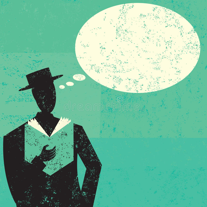 Man Reading. A man reading a book with an empty thought bubble above his head. The man and background are on separate labeled layers royalty free illustration