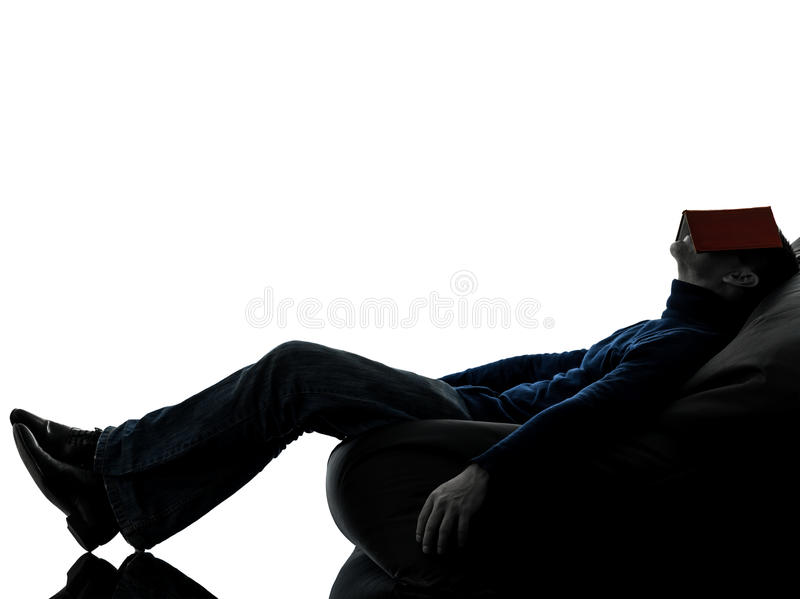 Man Reading Book Silhouette Full Length Royalty Free Stock Photography