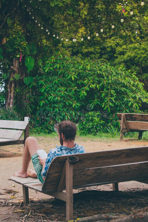 Man Reading Book Sitting on Bench Near Trees royalty free stock photo