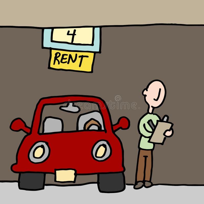 Man reading car rental contract royalty free illustration