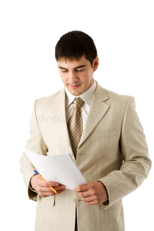 Download Man reading contract stock photo. Image of shirt, business - 18233288