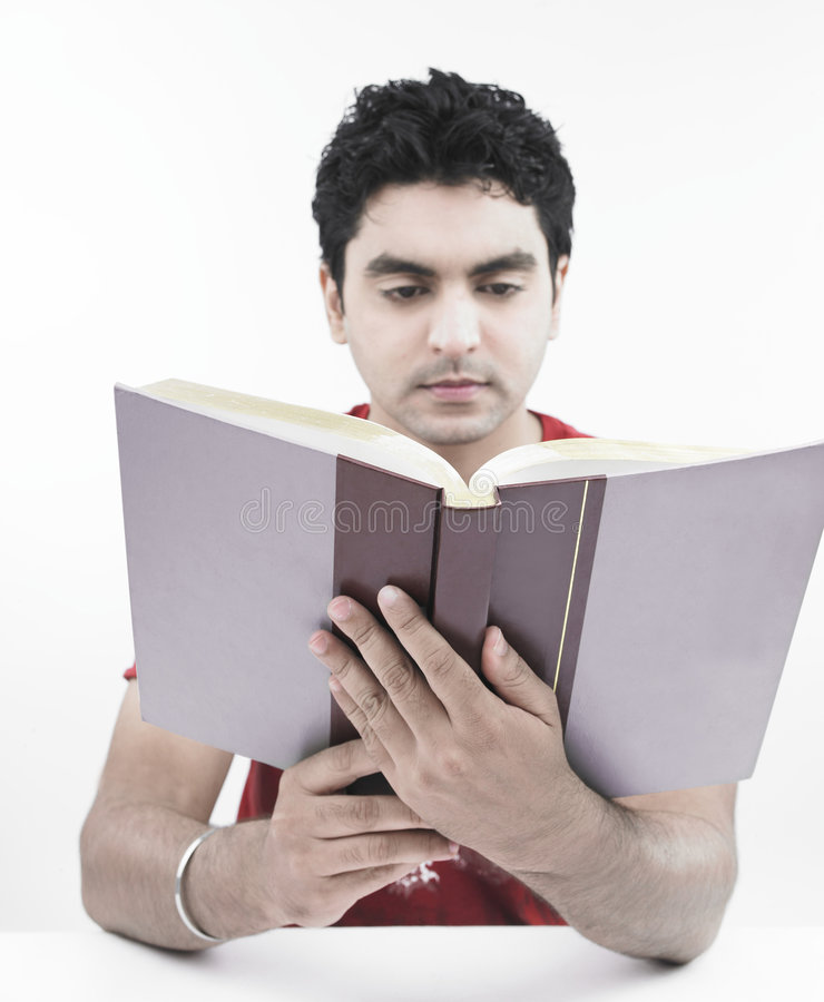 Download Man Reading An Encyclopedia Stock Image - Image of complexion, hair: 7321093