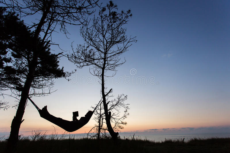 Man reading in nature on hammock under the trees with beautiful royalty free stock photo