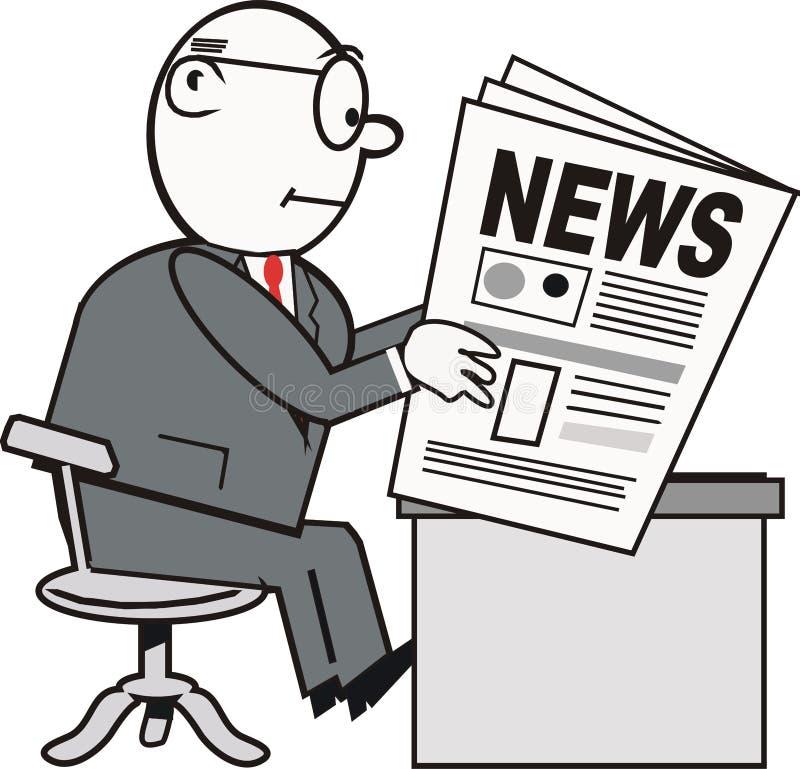 Man reading newspaper cartoon royalty free illustration
