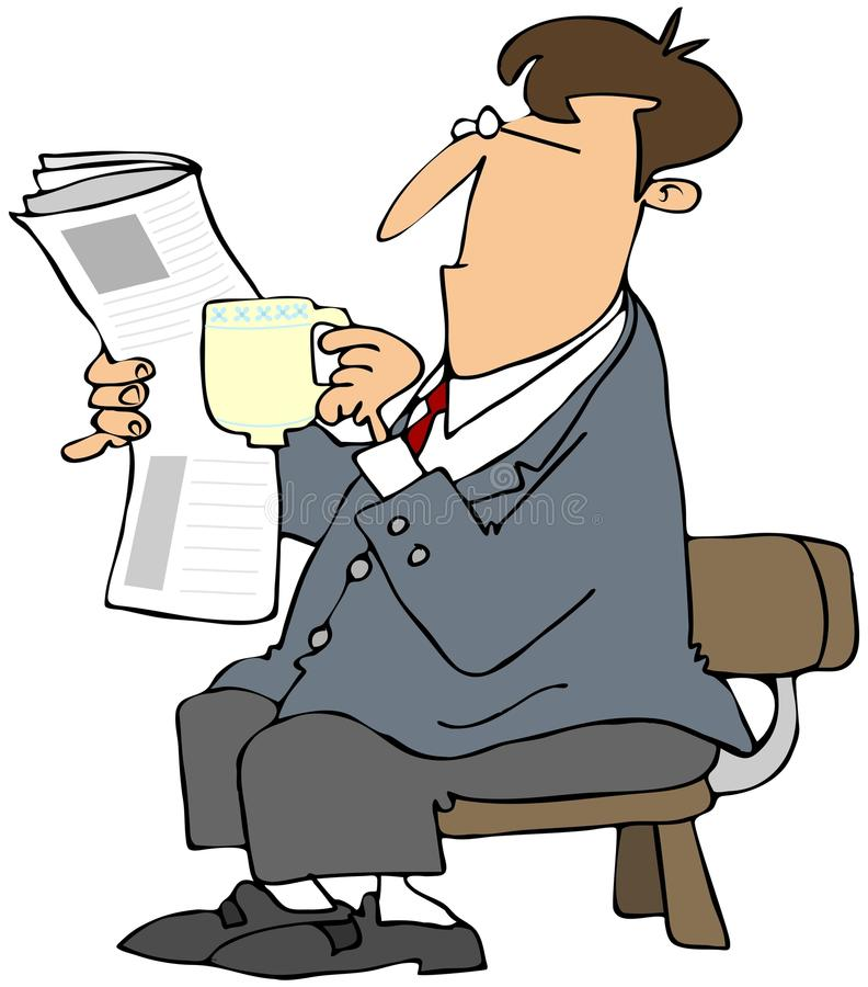 Man reading a newspaper and drinking coffee stock illustration