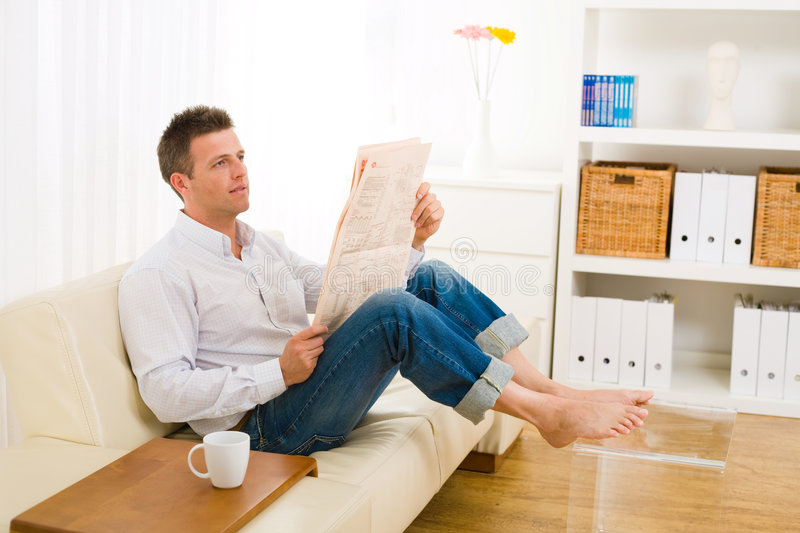 Download Man Reading Newspaper At Home Stock Photo - Image: 8590242