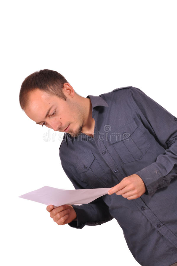 Man reading a presentation on paper royalty free stock photo
