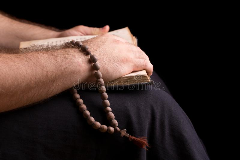 The priest who reads the bible royalty free stock images