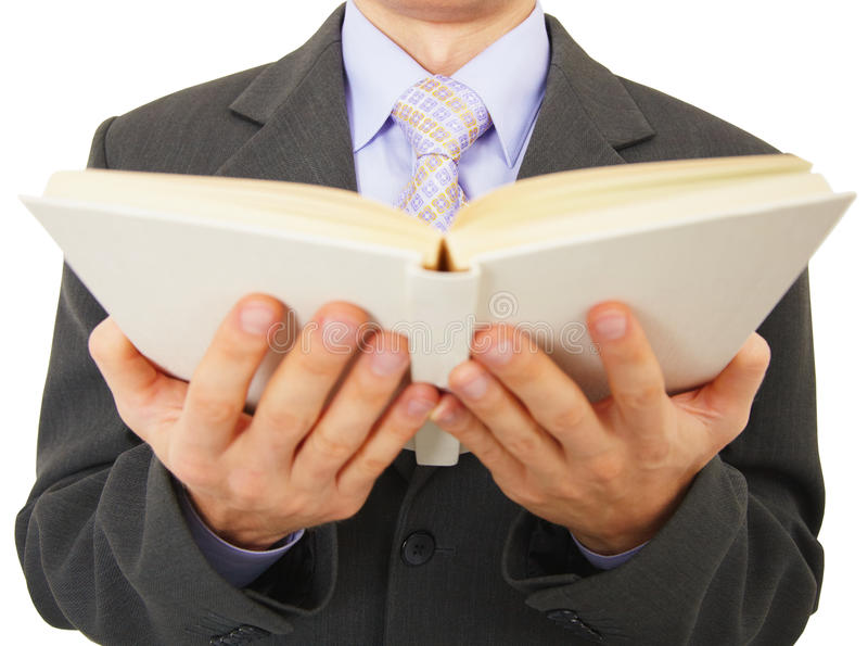 Download Man Reads Big Book, Isolated On White Royalty Free Stock Photo - Image: 13918405
