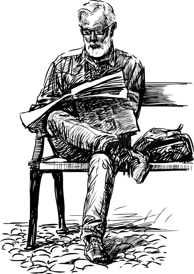 Man reads a newspaper vector illustration