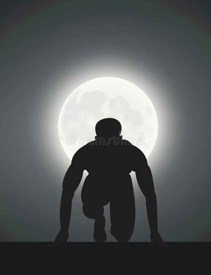 A Man, Ready To Run, Moonlight.  vector illustration