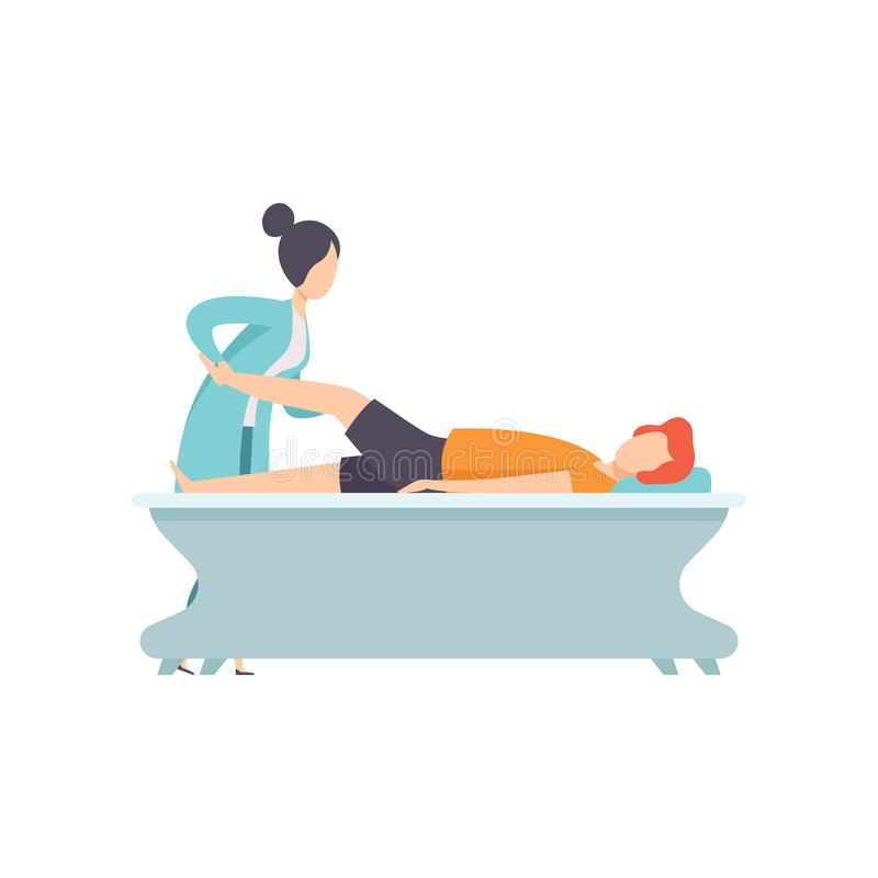 Man receiving leg physical therapy, medical rehabilitation, physical therapy activity vector Illustration. Isolated on a white background royalty free illustration