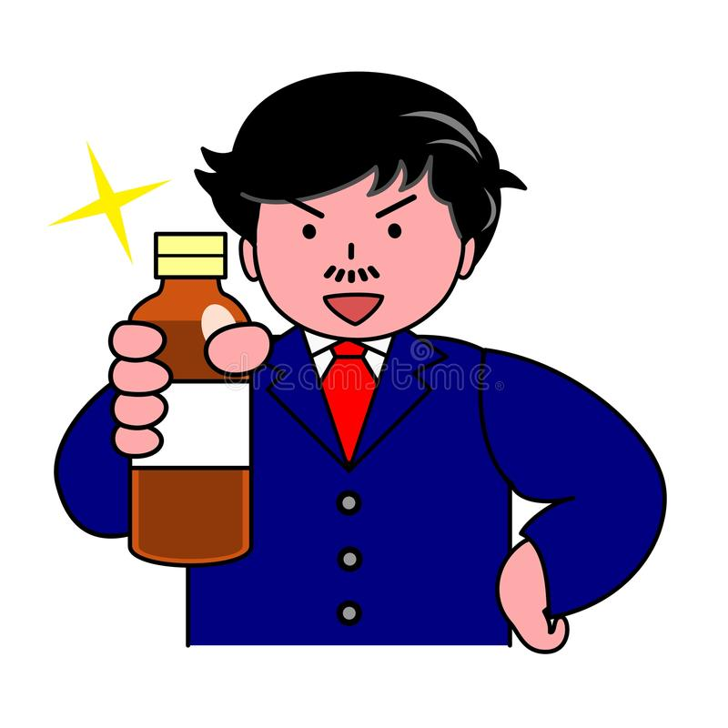 Man recommending drink. A man recommending nutritional drink royalty free illustration