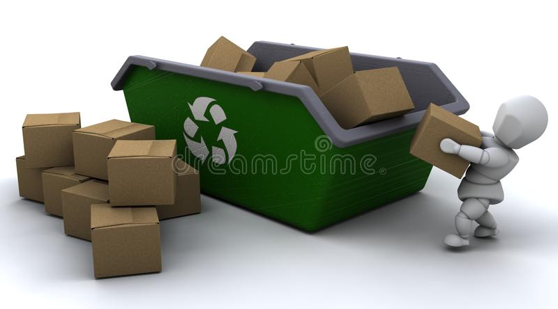 Download Man Recycling Card Boxes In Skip Stock Illustration - Illustration of cardboard, environment: 15740262