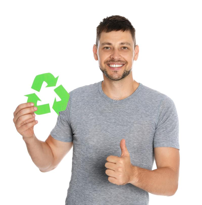 Man with recycling symbol on white stock image