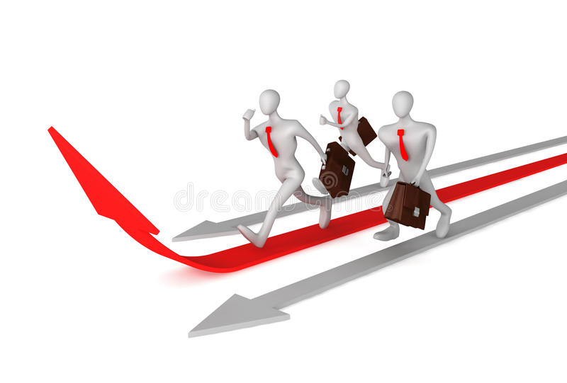 Man on the red arrow and his defeated competitors royalty free illustration