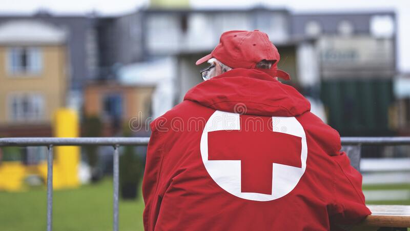 Man In Red Cross Jacket Free Public Domain Cc0 Image