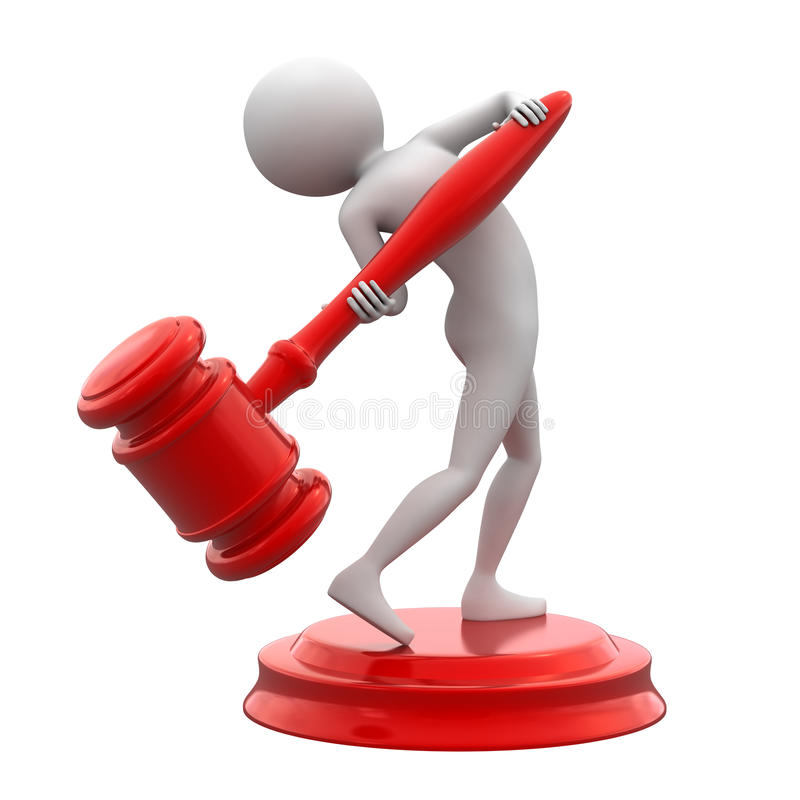 Man With Red Gavel. 3D illustration of a white man standing on a sound block lifting a large red gavel isolated on a white background royalty free illustration