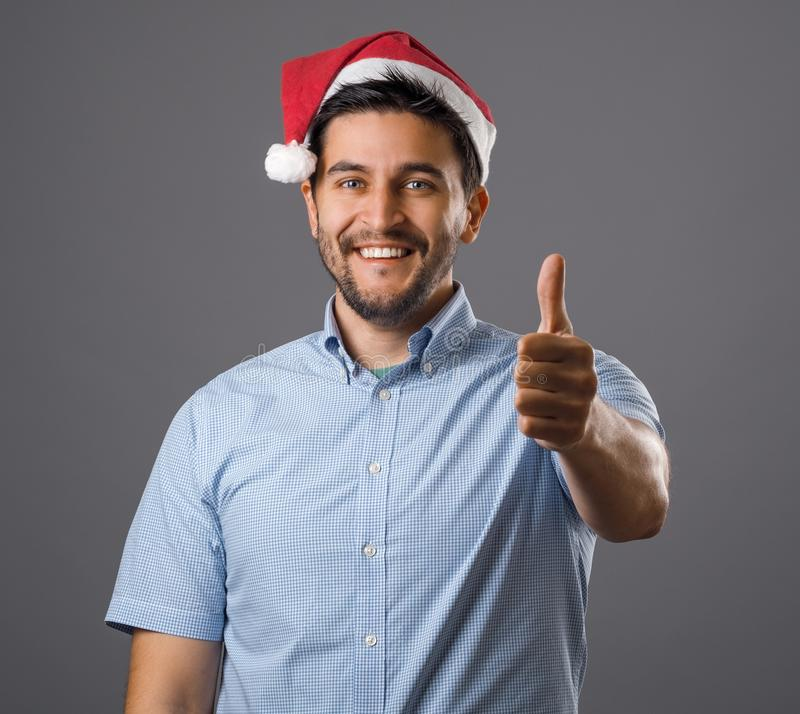 Man in red hat stock photography