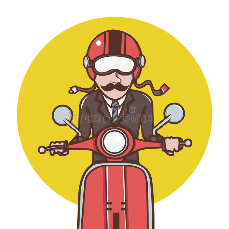 Man with red helmet riding a red scooter. The Man with red helmet riding a red scooter vector illustration