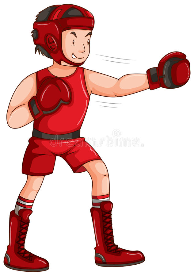 Man in red outfit doing boxing vector illustration