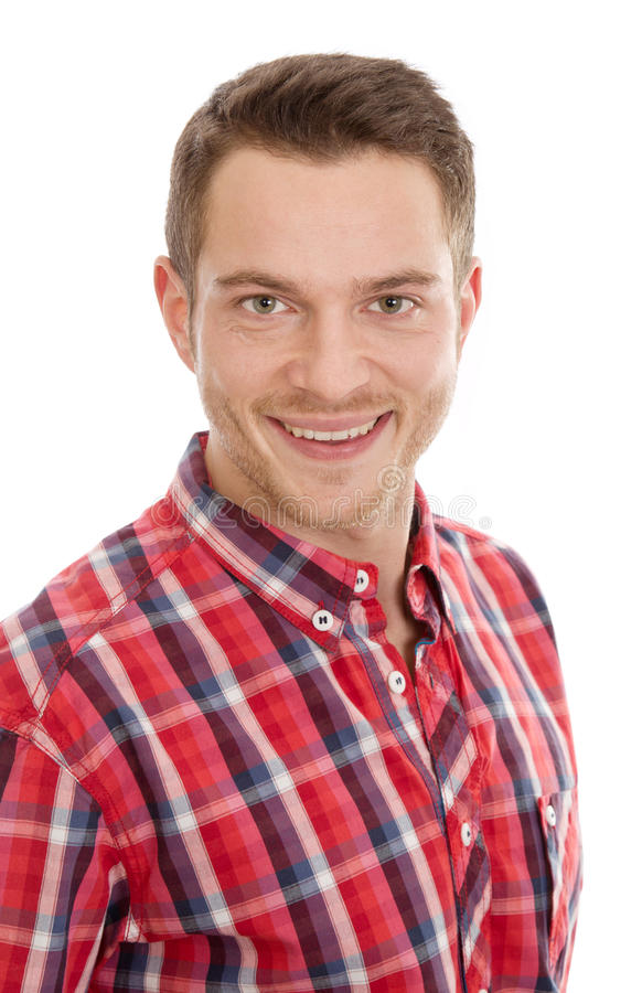 Download Man with red plaid shirt stock photo. Image of blue, person - 35689576