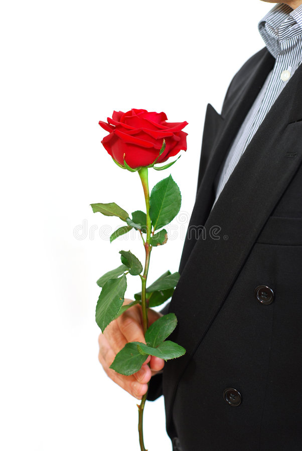 Man red rose royalty free stock photography