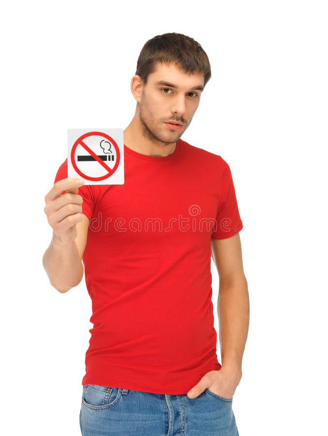 Download Man In Red Shirt With No Smoking Sign Stock Photo - Image of lifestyle, casual: 39399652