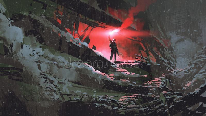 The man with a red smoke flare. Apocalypse world concept showing the man holding a red smoke flare in the destroyed building, digital art style, illustration vector illustration