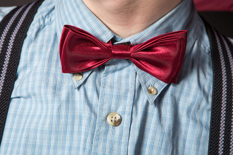 Download Man In A Red Suit And A Bow Tie Plaid Shirt Stock Image - Image: 29342339