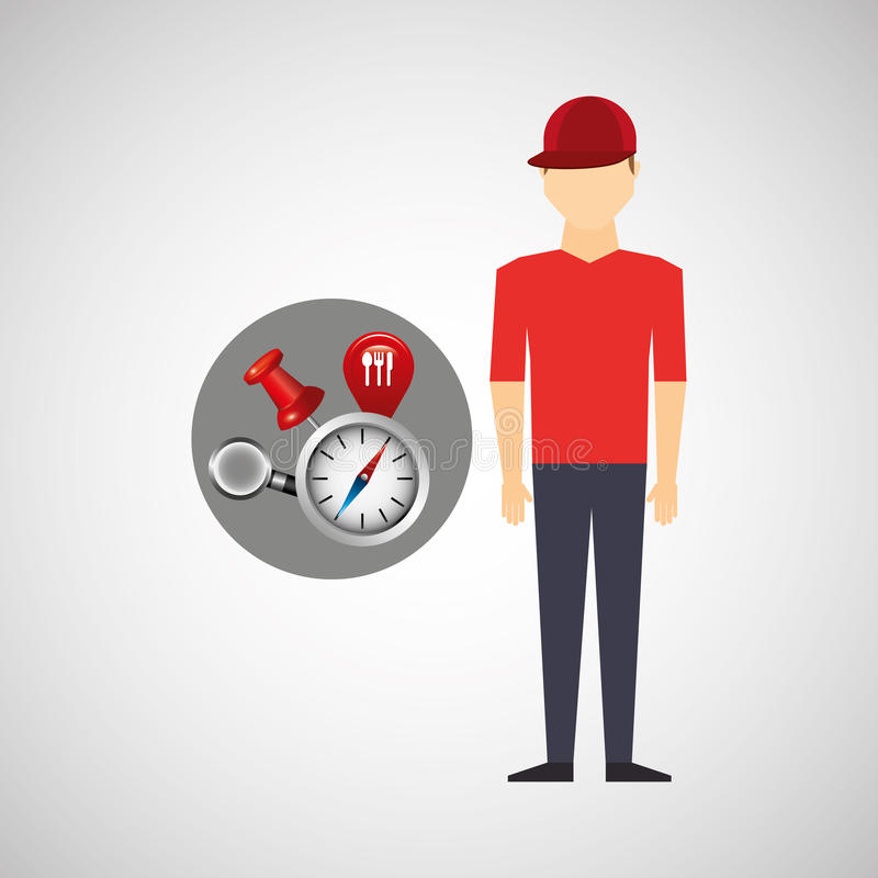 Man red tshirt collection navigation elements concept. Vector illustration eps 10 stock illustration