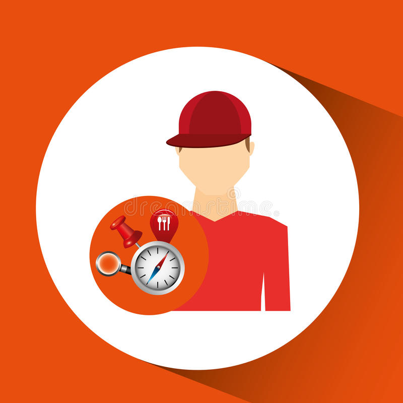 Man red tshirt collection navigation elements concept. Vector illustration eps 10 royalty free illustration
