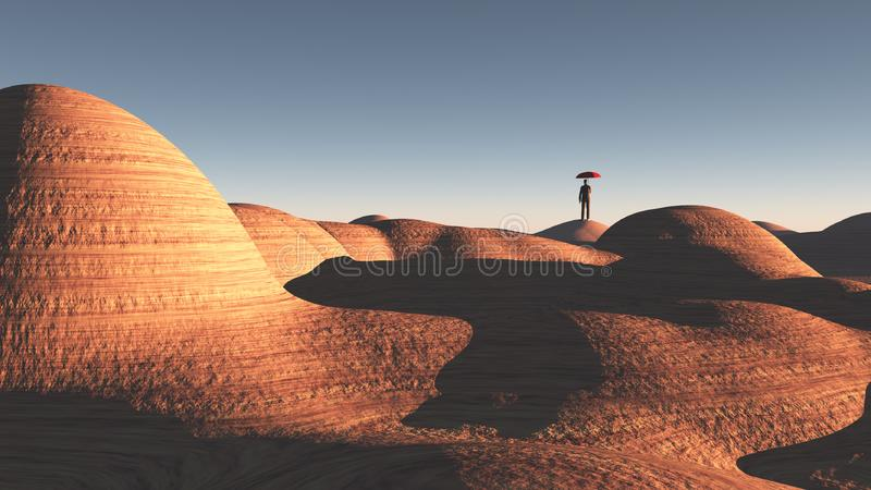 Man stands in rocky desert. Man with red umbrella stands in rocky desert. Human elements were created with 3D software and are not from any actual human vector illustration