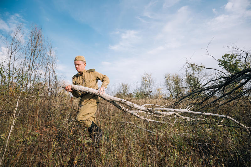 Man Reenactor Dressed As Russian Soviet Red Army Infantry Soldier. Dyatlovichi, Belarus - October 1, 2016: Man Reenactor Dressed As Russian Soviet Red Army royalty free stock photography