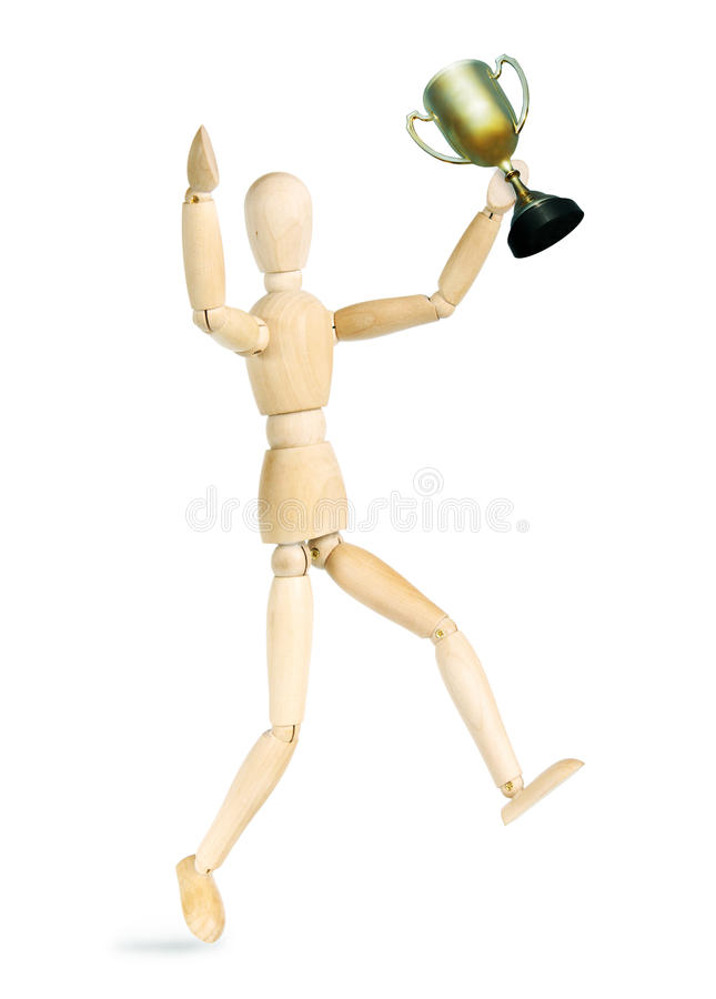 Man rejoices victory. Abstract image with a wooden puppet royalty free stock photo