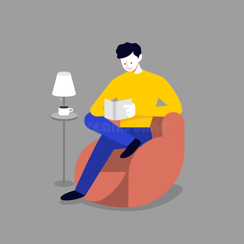 Man relax on sofa and reading book vector illustration