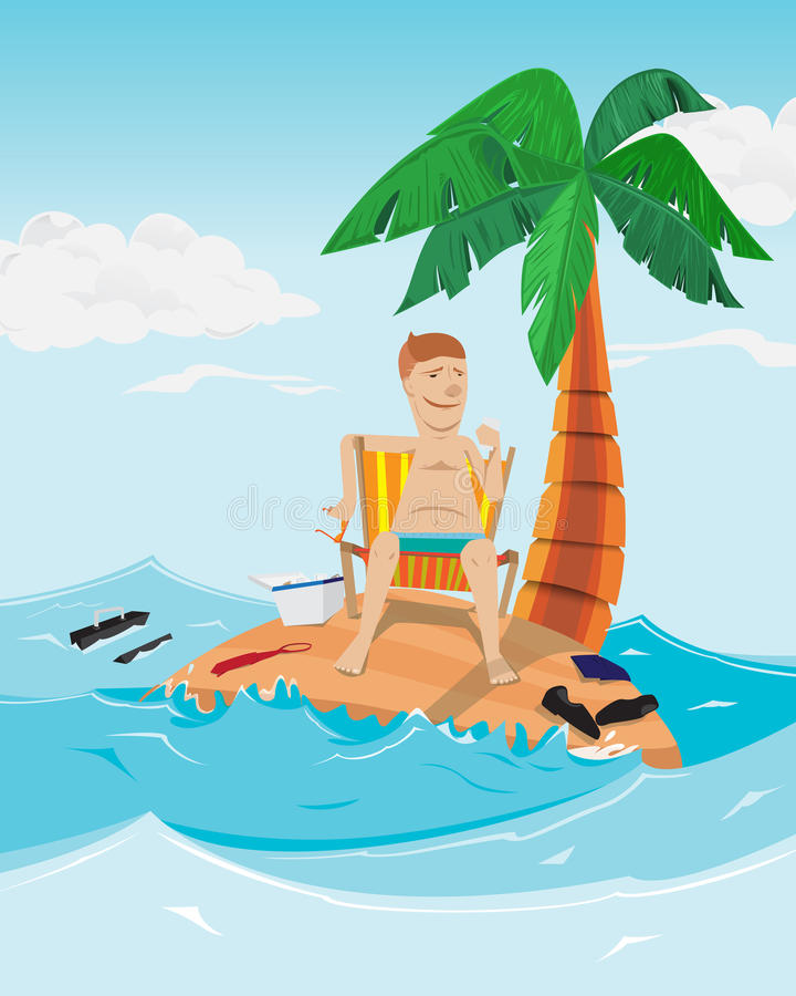 Man relax time in island. Businessman on desert island with palm royalty free illustration