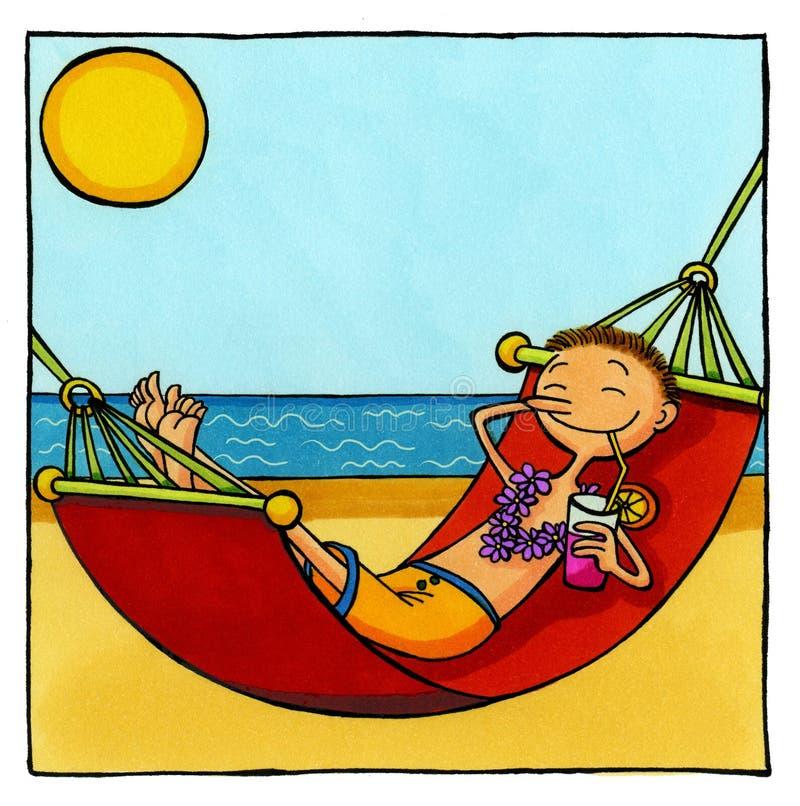 Man relaxing in hammock stock illustration