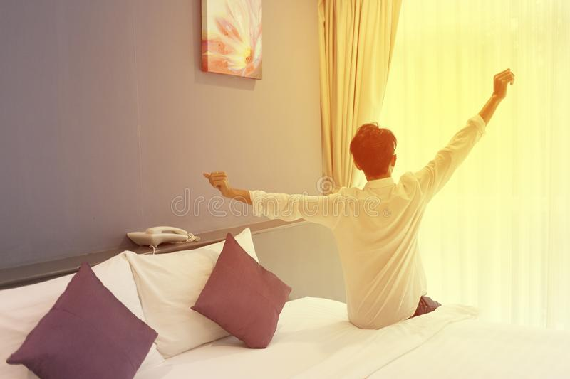 Relaxing in the morning in the bedroom stock photography