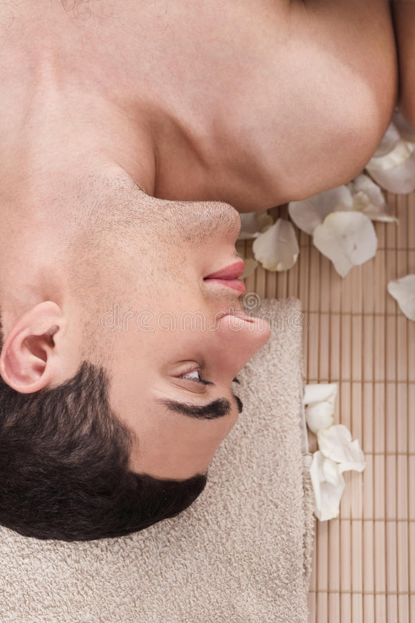 Download Man relaxing in spa salon stock photo. Image of people - 12899734