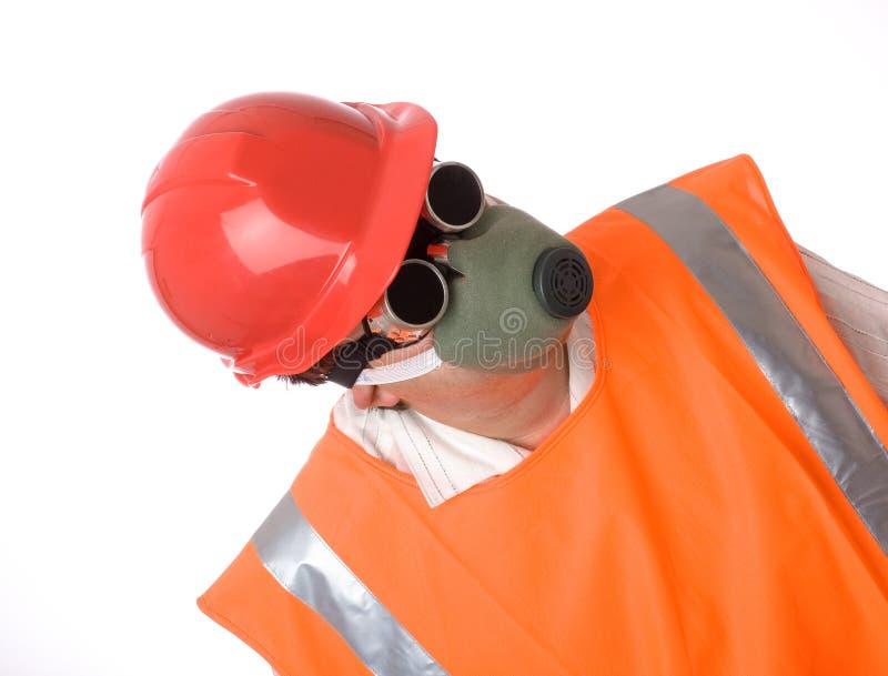 Man in respirator stock image