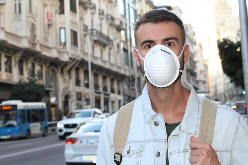 Man with respiratory system problems in polluted environment royalty free stock image