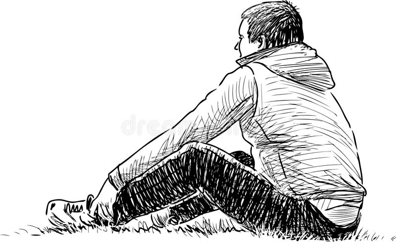 Man resting on the grass. Vector drawing of a person relaxing in a city park vector illustration