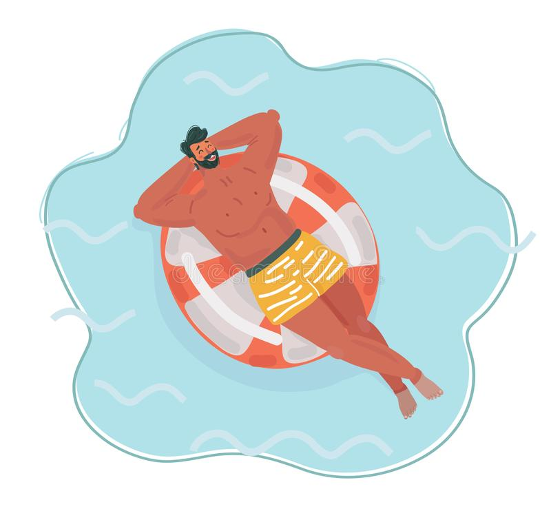 Free Man Resting On Floating Red Rubber Ring. Stock Photography - 154879102