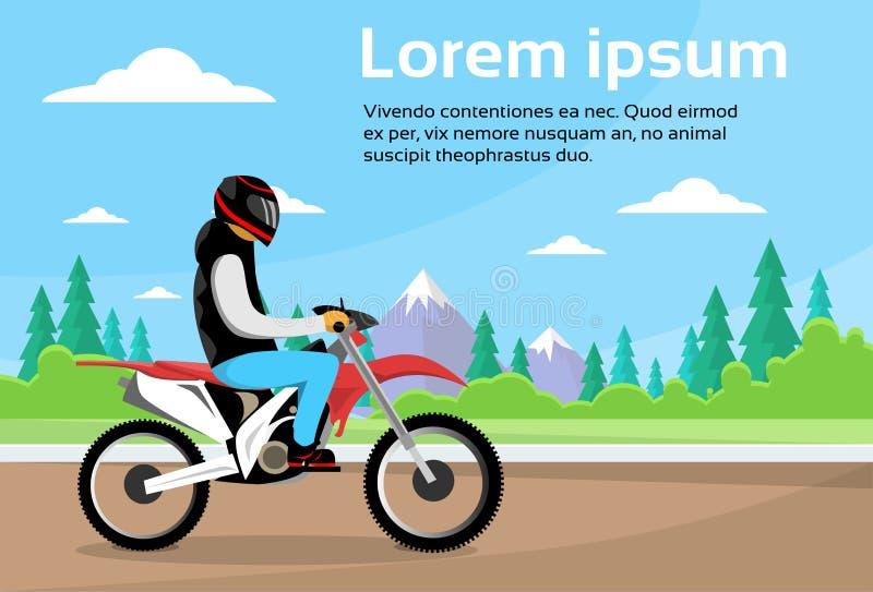 Man Ride Off Road Motor Bike, Sport Motocycle Over Nature Mountain Background. Flat Vector Illustration royalty free illustration