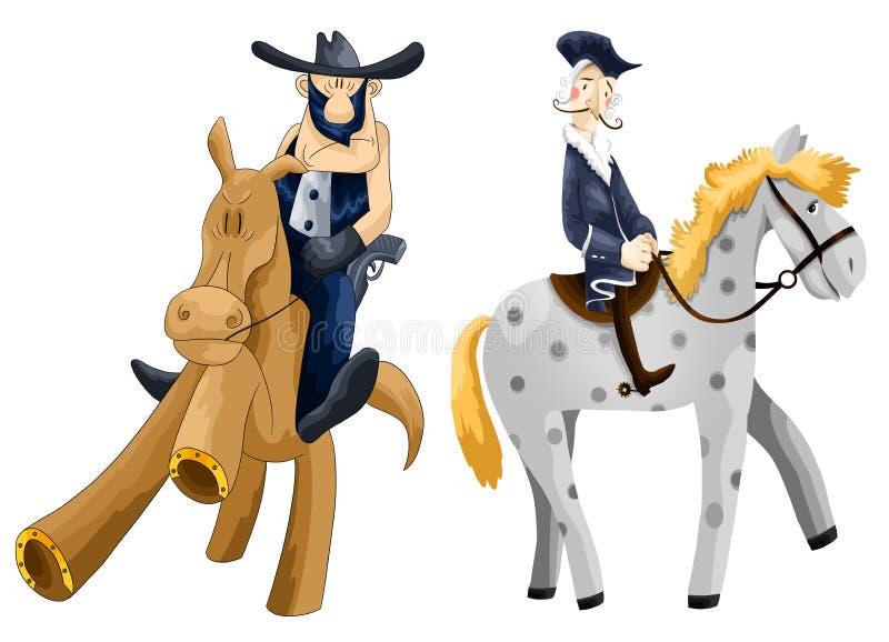 Man Rider Horse Clipart Cartoon Style  Illustration White Stock Images