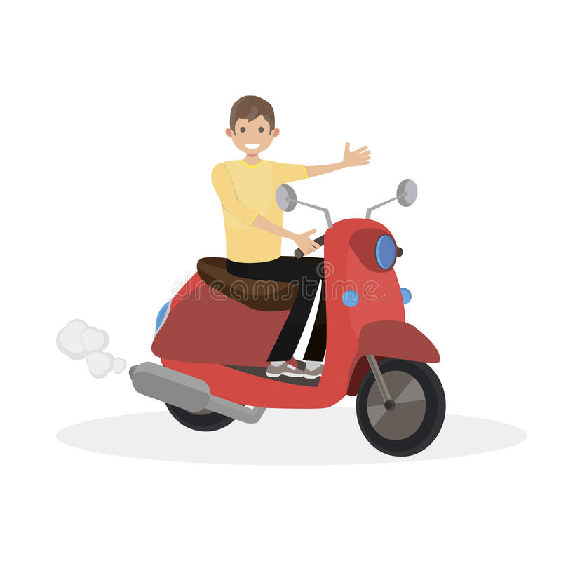 Man rides on a red scooter. Character vector illustration flat people. stock photography